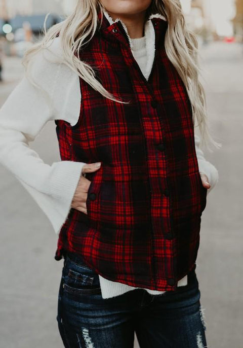 DaysCloth Red Plaid Buttons Zipper Pockets Collarless Casual Chiffon Vest