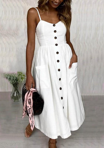 White Spaghetti Strap Single Breasted Pockets Pleated V-neck Bohemian Sweet Party Midi Dress