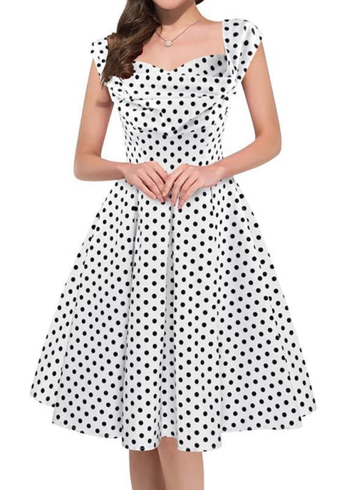 DaysCloth White Polka Dot Pleated Boat Neck Fashion Midi Dress