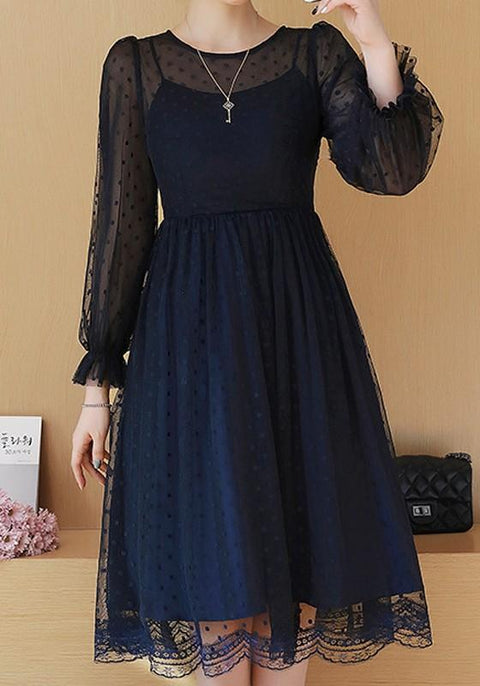 DaysCloth Navy Blue Polka Dot Lace Round Neck Long Sleeve Elegant Midi Dress