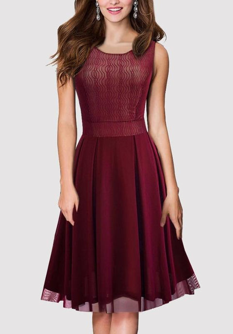 DaysCloth Burgundy Patchwork Grenadine Pleated Round Neck Party Midi Dress