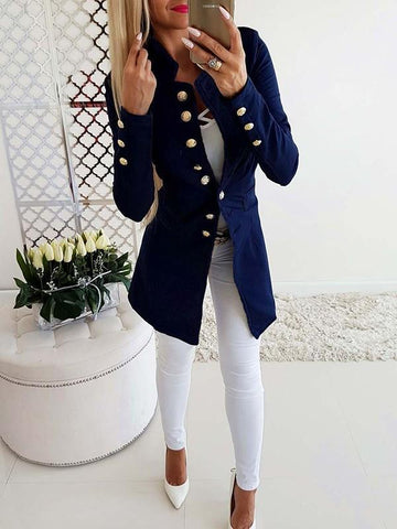 New Blue Plain Buttons Long Sleeve Going out Fashion Cardigan Coat