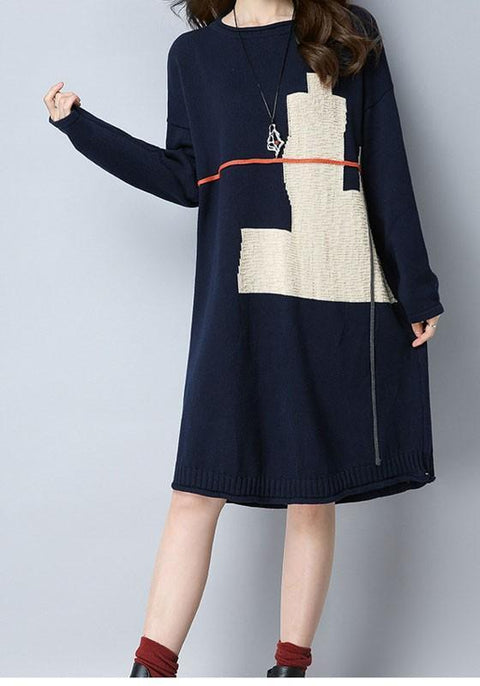 DaysCloth Navy?Blue Floral Round Neck Long Sleeve Casual Midi Dress