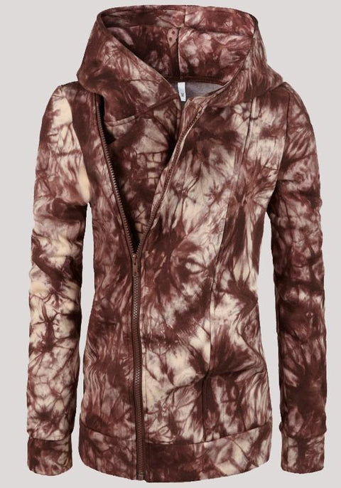 DaysCloth Brown Zipper Tie Dye Hooded Casual Going out Cardigan Sweatshirt