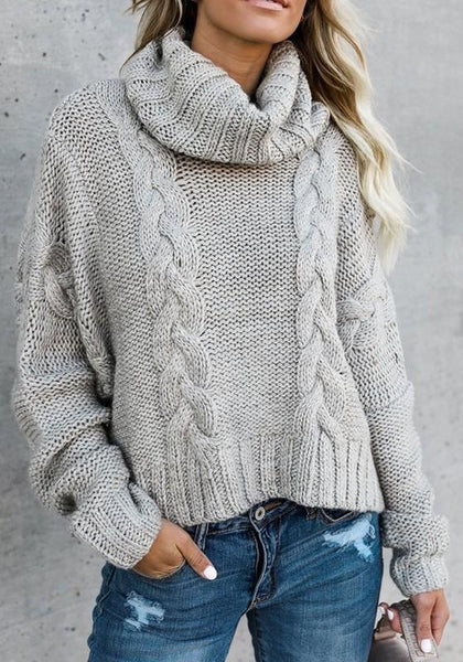 Grey Irregular High Neck Long Sleeve Casual Pullover Sweater
