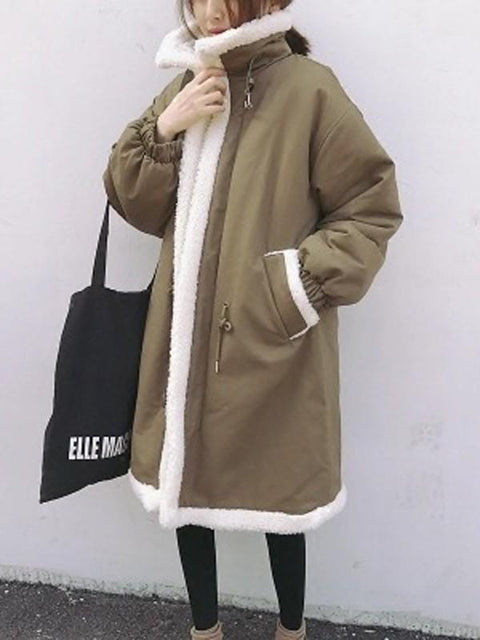 DaysCloth New Khaki Patchwork Pockets Fur Drawstring Turndown Collar Long Sleeve Casual Coat