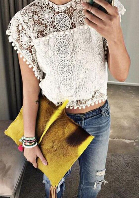 DaysCloth White Patchwork Lace Hollow-out Crop Round Neck Blouse