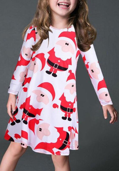 DaysCloth White Santa Claus Print Children Chrismas Long Sleeve Midi Dress