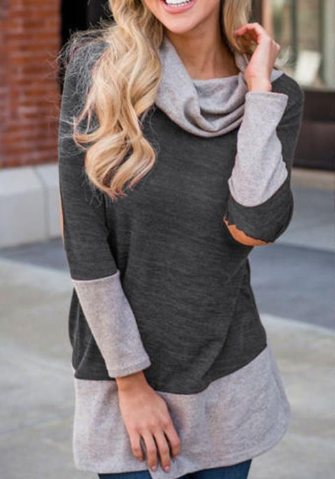 DaysCloth Grey Patchwork Cowl Neck Long Sleeve Fashion T-Shirt