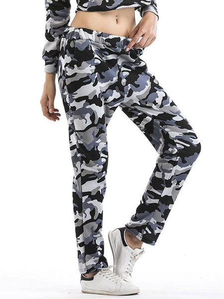 New Grey Camouflage Print Pockets High Waisted Casual Long Pants