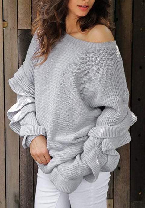 DaysCloth Grey Irregular Ruffle Round Neck Long Sleeve Casual Pullover Sweater