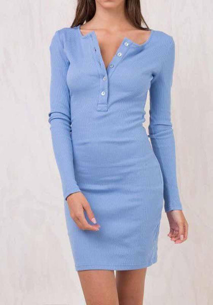 New Light Blue Single Breasted Round Neck Sweet Mini Dress