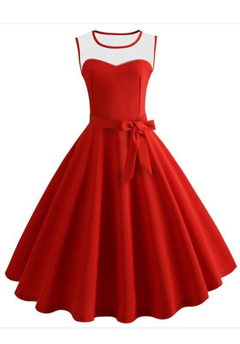 DaysCloth Red Patchwork Bow Draped Grenadine Vintage Midi Dress