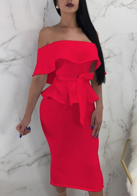DaysCloth Red Ruffle Sashes Off Shoulder Peplum Backless Two Piece Elegant Party Midi Dress