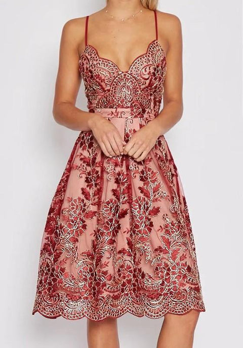DaysCloth Red Patchwork Hollow-out Lace Condole Belt Zipper Midi Dress