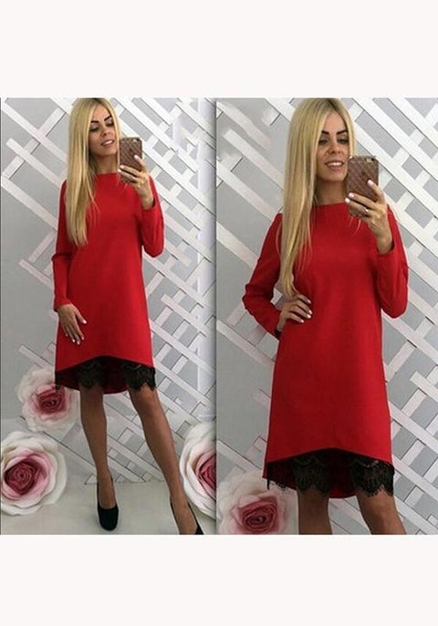 DaysCloth Red Plain Lace Round Neck Long Sleeve Sweet Midi Dress