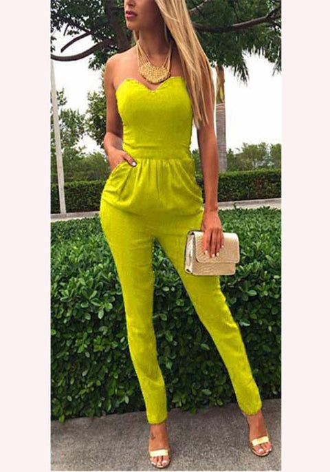 DaysCloth Yellow Plain Pockets Condole Belt Fashion Long Jumpsuit