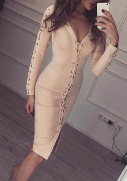 Apricot Cut Out Drawstring Plunging Neckline Fashion Mini Dress