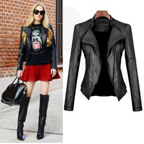 DaysCloth Black Plain Tailored Collar Long Sleeve Slim Fashion PU Leather Jacket Coat