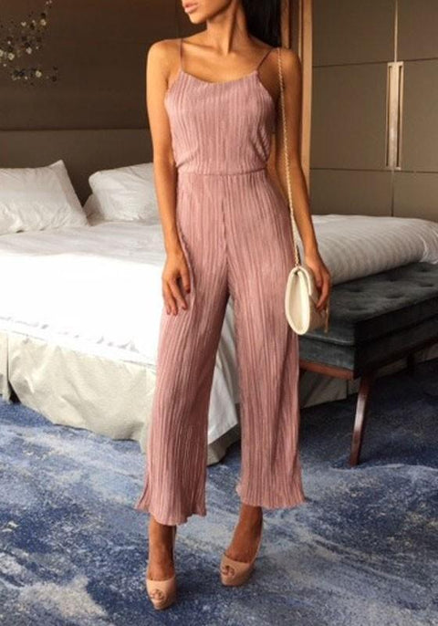 DaysCloth Pink Backless Condole Belt Tie Back Fashion Long Jumpsuit