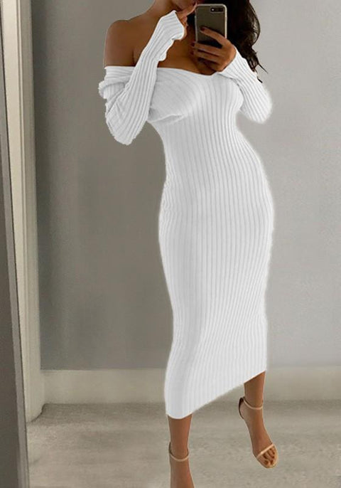 DaysCloth White Plain Draped Plunging Neckline Long Sleeve Midi Dress