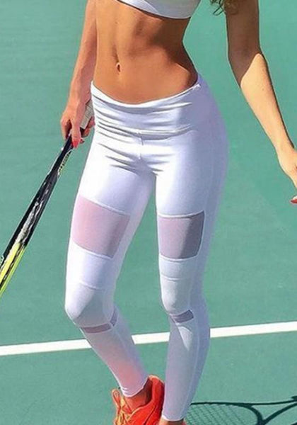White Patchwork High Waisted Sports Long Pants