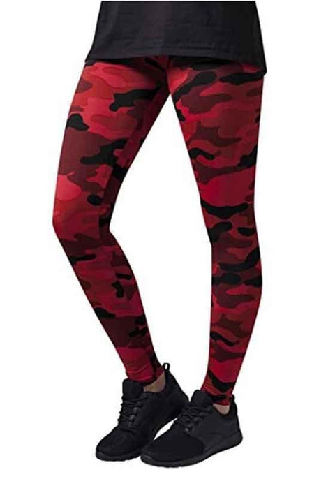 DaysCloth Red Camouflage Print Skinny Sports Yoga Workout Long Legging