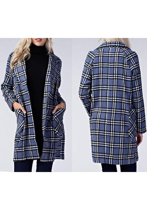 DaysCloth Blue Plaid Pockets Turndown Collar Long Sleeve Casual Tartan Long Coat