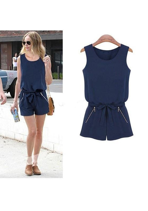 DaysCloth Dark Blue Zipper Bow Sashes Elastic Waist Mid-rise Short Jumpsuit