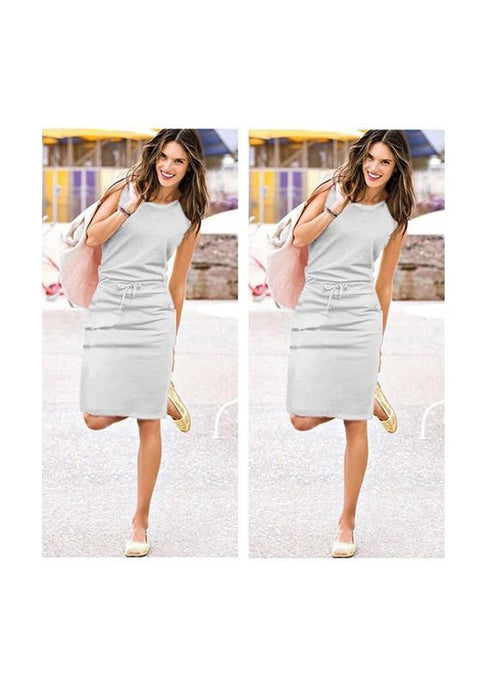 DaysCloth Grey Drawstring Pockets Round Neck Casual Cotton Midi Dress