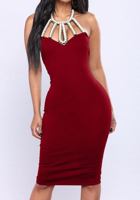 DaysCloth Burgundy Patchwork Pearl Backless Lace-up Halter Neck Slit Sleeveless Bodycon Midi Dress