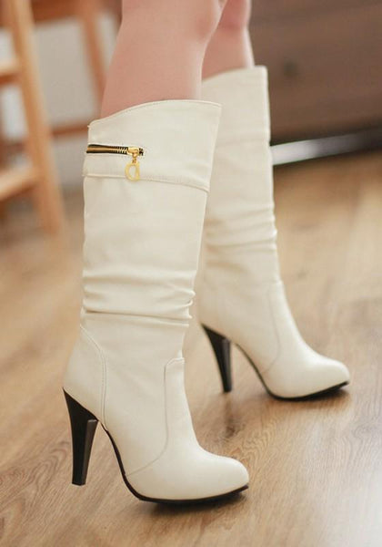 New White Round Toe Stiletto Zipper Fashion Mid-Calf Boots