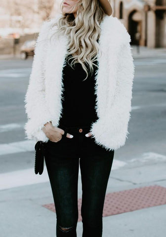 DaysCloth White Plain Pockets Hooded Furry Long Sleeve Fuzzy Reversible Jacket Fashion Coat