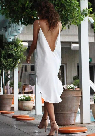 White Condole Belt Backless Plunging Neckline Fashion Midi Dress