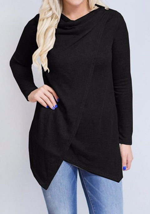 DaysCloth Black Studded Irregular Draped Collar Long Sleeve Casual T-Shirt