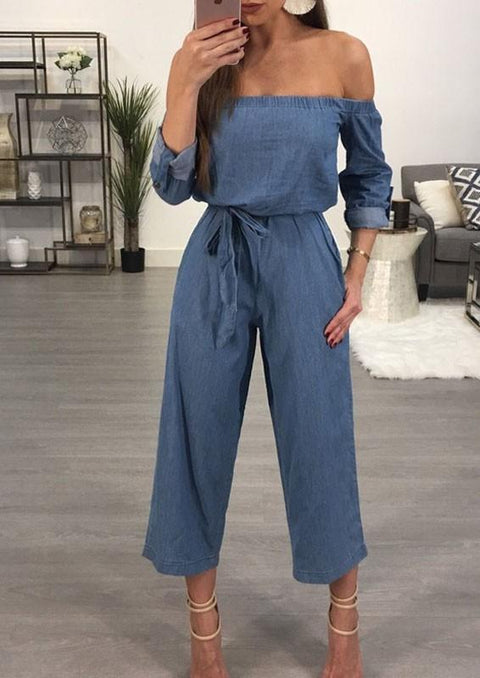 DaysCloth Blue Pockets Sashes High Waisted Nine's Jumpsuit