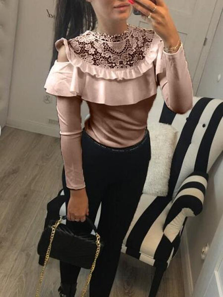 New Pink Plain Ruffle Lace Cut Out Going out Casual Blouse