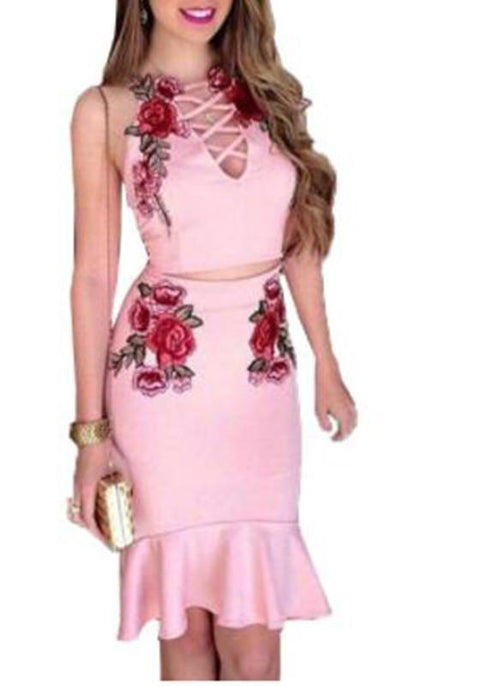 DaysCloth Pink Floral Embroidery Condole Belt Drawstring Two Piece Party Midi Dress