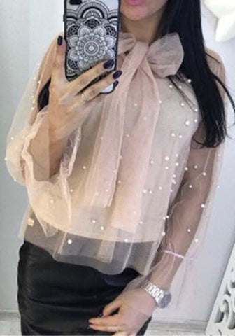 Apricot Patchwork Beading Grenadine Ribbons 2-in-1 Long Sleeve Sweet Blouse