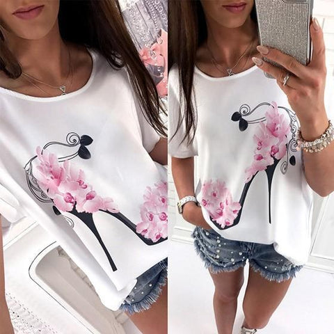 DaysCloth White Flowers High-heeled Shoes Print Short Sleeve Oversize Casual T-shirt