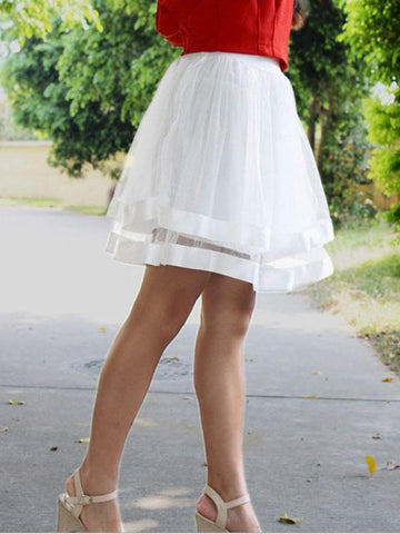 New White Patchwork Grenadine Pleated High Waisted Tutu Cute Homecoming Party Skirt