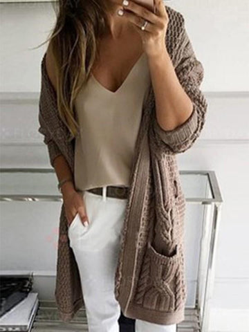 New Coffee V-neck Long Sleeve Going out Cardigan Sweater