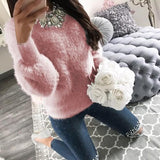 New Pink Round Neck Long Sleeve Casual Pullover Sweater