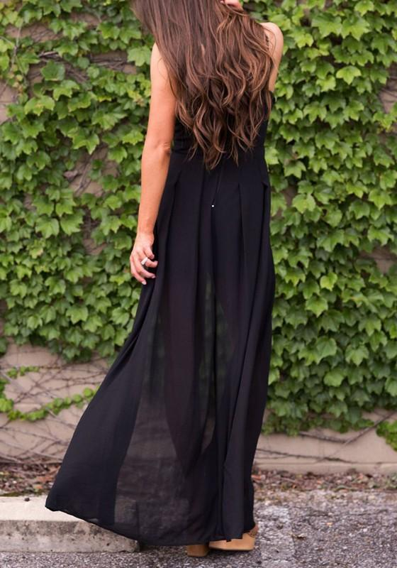 4d4c83850b92 ... DaysCloth Black Lace-up Cut Out Spaghetti Strap Vegas Short Jumpsuit  with Maxi Overlay ...