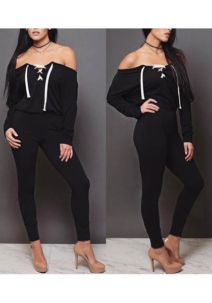 Black Drawstring Off Shoulder Lace-up High Waisted Bodycon Long Jumpsuit