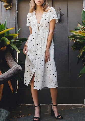 7f43d260f581 White Polka Dot Knot Deep V-neck High Waisted Homecoming Party Elegant Midi  Dress