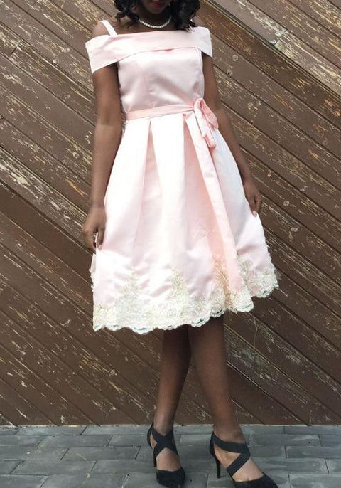 DaysCloth Pink Sashes Lace Pleated Spaghetti Strap Backless Tutu Sweet Midi Dress