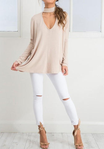 Apricot Cut Out V-neck Long Sleeve Fashion T-Shirt