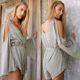 Grey Striped Print Sashes Off-Shoulder High Waisted Short Jumpsuit