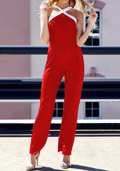 DaysCloth Red Backless Condole Belt Zipper High Waisted Long Jumpsuit